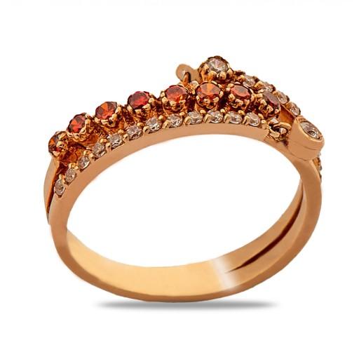 14 Ayar Rose Altın Roberto Orange Star Yüzük
