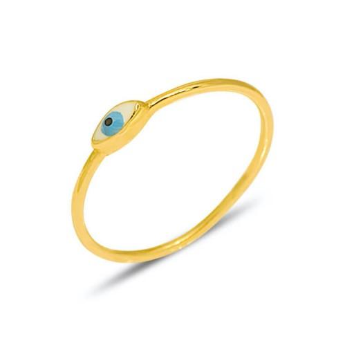 14 Ayar Yeşil Altın Göz Yüzük Modeli