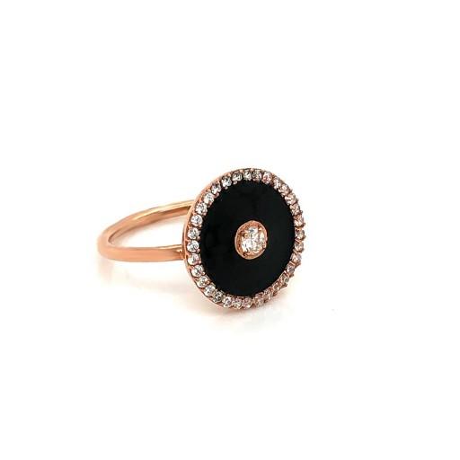 Nizamyan Özel Koleksiyonu Black  Circle Altın Yüzük