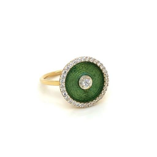 Nizamyan Özel Koleksiyonu Green Circle Altın Yüzük