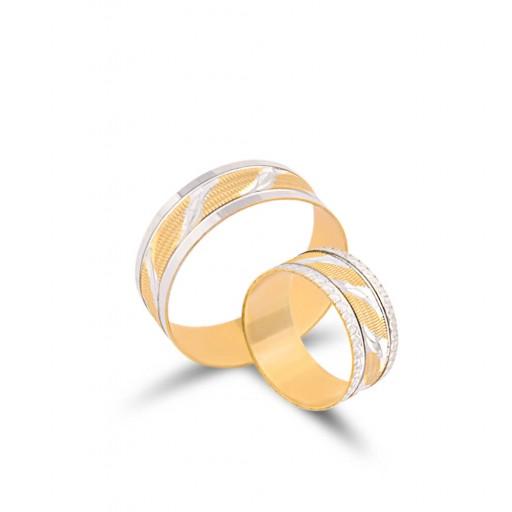 2 Adet 14 Ayar Sarı Ve Beyaz Altın Loka Modeli Alyans