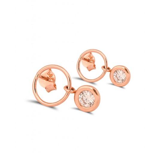 14 Ayar Rose Altın Designo Çember Küpe Modeli