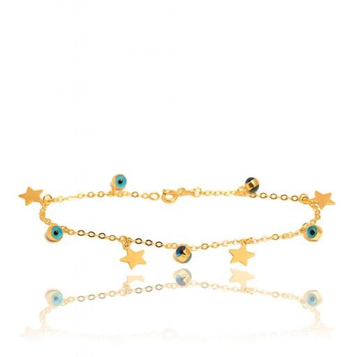 14 Ayar Altın Nazar Boncuklu Yıldızlı Bileklik Modeli
