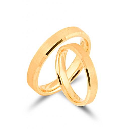 2 Adet 14 Ayar Sarı Altın Klasik Alyans Modeli