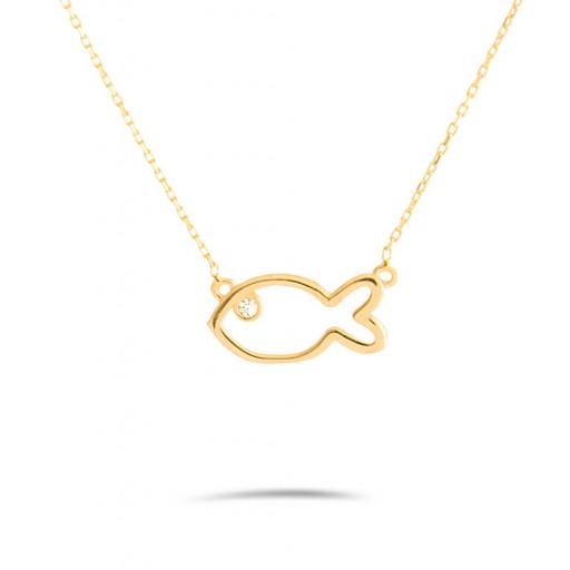 14 Ayar Sarı Altın Balık Figürlü Kolye