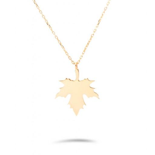 14 Ayar Sarı Altın Çınar Yaprağı Kolye