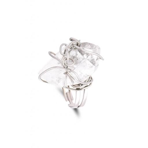 Özel Üretim Gümüş Kaplama Kristal Kuars Yüzük Modeli