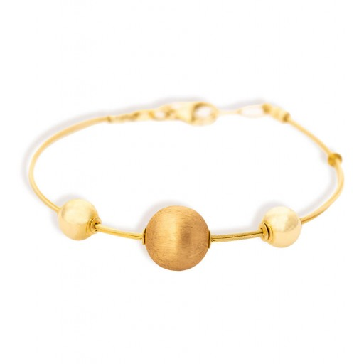 14 Ayar  Sarı Altın Roberto Küre Künye Bileklik Modeli