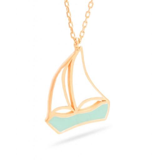 Rose Altın 14 Ayar Yelkenli Kolye Modeli