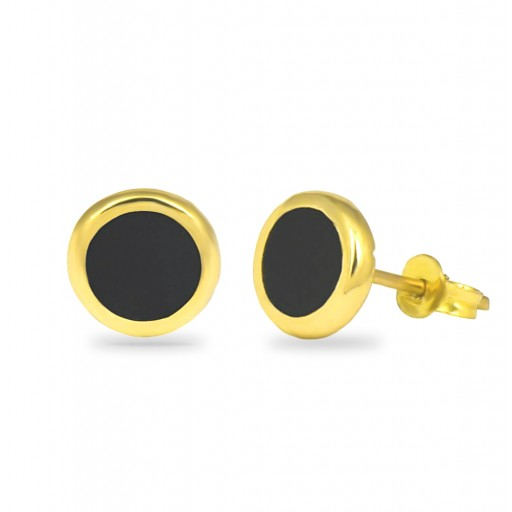 14 Ayar Sarı Altın Siyah Düğme Küpe