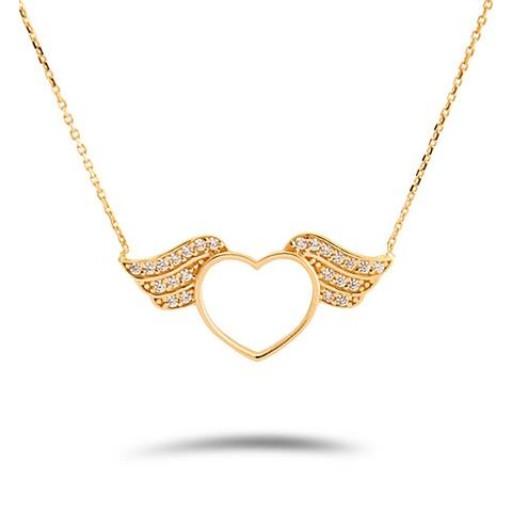 14 Ayar Sarı Altın Zirkon Taşlı Kalp Kolye